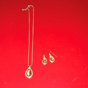 Silver & Brown Pendant with Matching Earrings